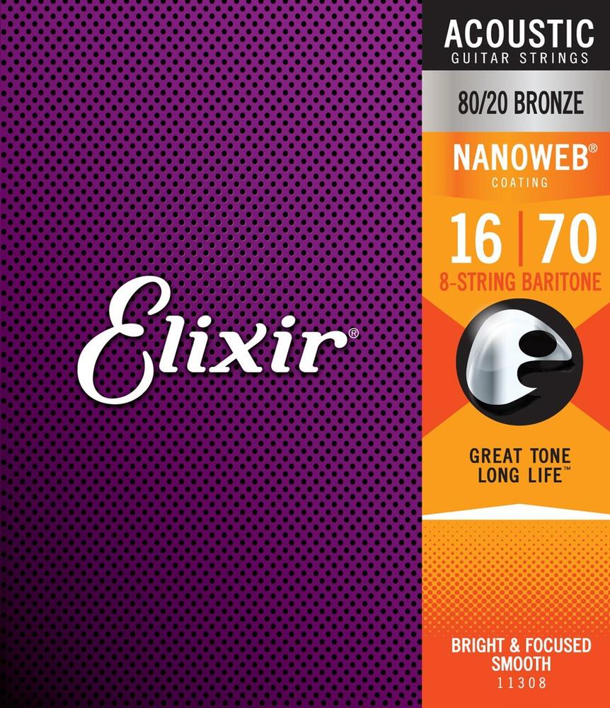 Elixir Elixir Nanoweb 80/20 Bronze 8-String Baritone Acoustic Guitar Strings