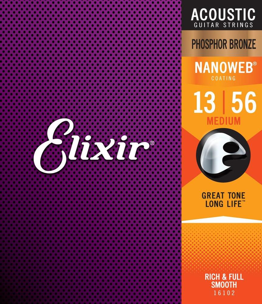 Elixir Elixir Nanoweb Phosphor Bronze Medium Acoustic Guitar Strings 13-56