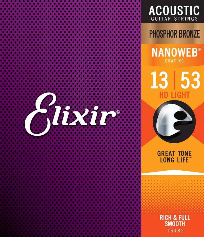 Elixir Elixir Nanoweb Phosphor Bronze HD Acoustic Guitar Strings 13-53
