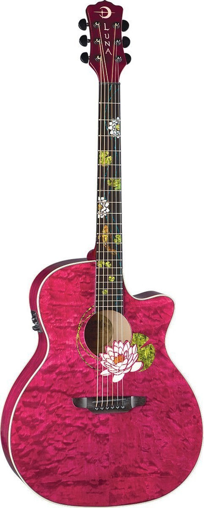 Luna Luna Flora Series Lotus Custom Grand Concert Acoustic-Electric Guitar
