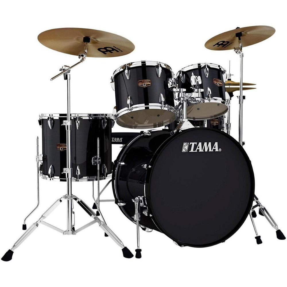 Tama Hairline Black Tama IP52KCHBK Imperialstar 5-Piece Complete Drum Kit with 22 Bass Drum and Hardware, Cymbals