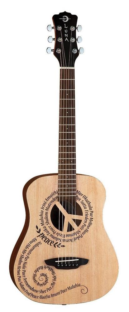 Luna Luna SAFPCE Safari Series Peace 3/4 Travel-Size Dreadnought Acoustic Guitar
