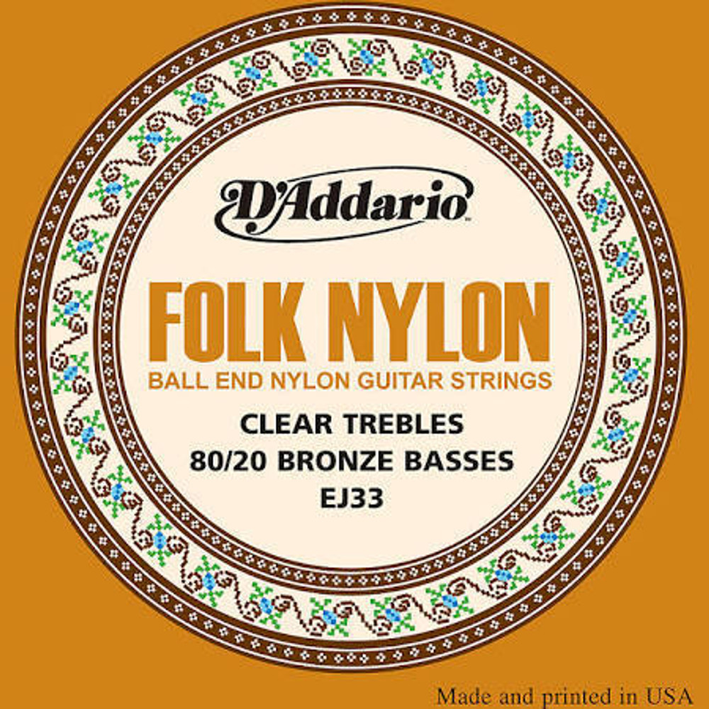 DAddario DAddario EJ33 Folk Ball End 80/20 Bronze/Clear Nylon Strings
