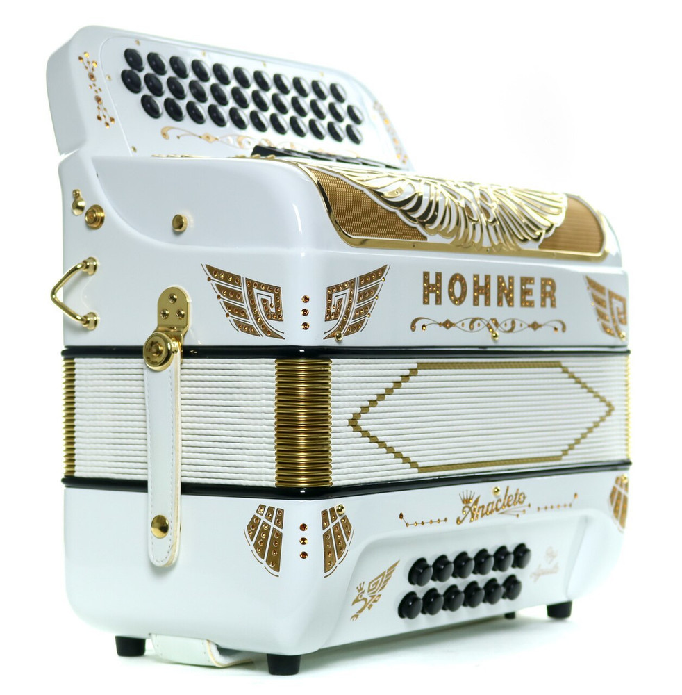 Hohner Hohner Anacleto Rey Aguila 5S FBbEb Compact Accordion White and Gold