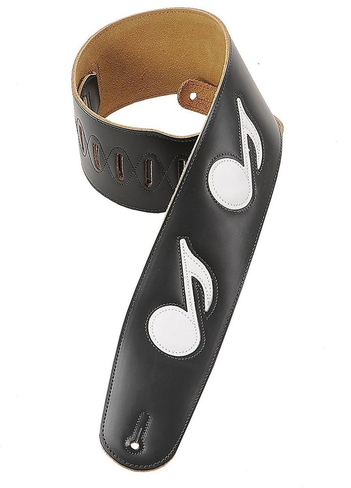 Levys Levys Leathers M4N-BLK 3-inch Leather Strap Black with White Notes