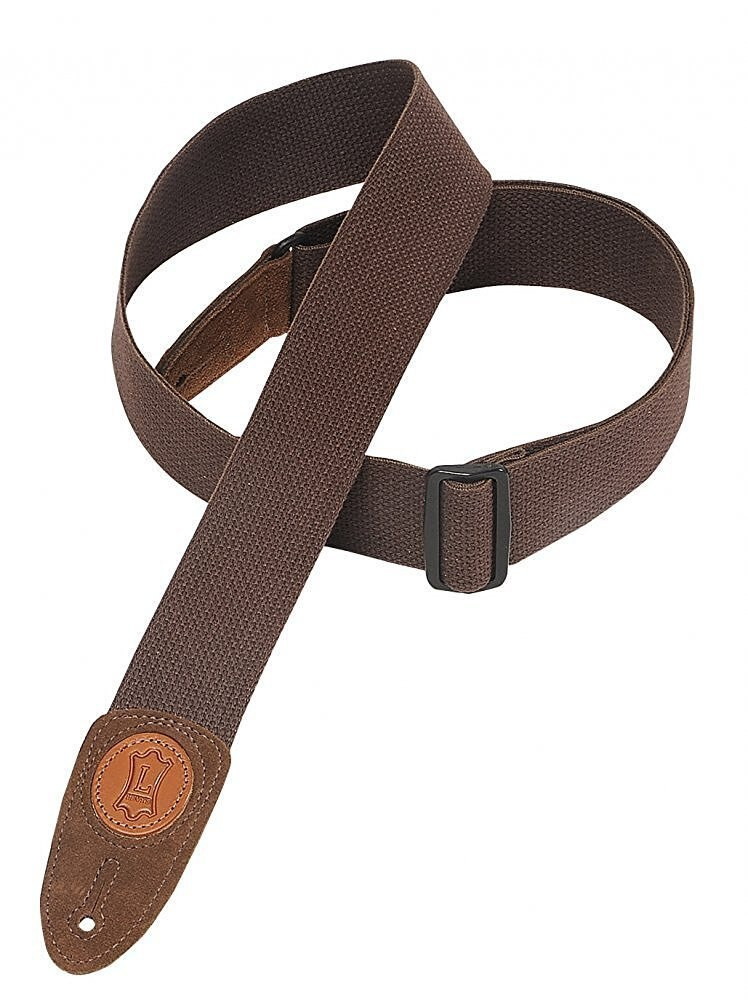 Levys Levys Leathers MSSC8-BRN 2 Cotton/Seude Guitar Strap, Brown