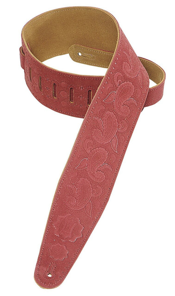 Levys Levys PMS44T03-BRG 3 Suede Leather Guitar Strap with Paisley Pattern, Burgundy