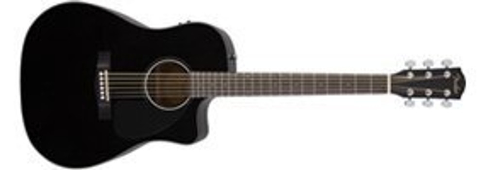 Fender Acoustic Guitars Fender CD60CE A/E Black Dreadnought Cutaway with Case