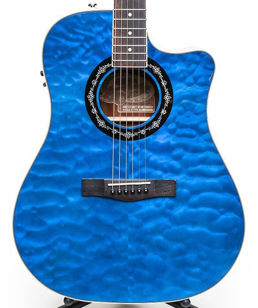 Fender Acoustic Guitars Fender T-Bucket 300CE Cutaway Dreadnought Acoustic-Electric Guitar Transparent Blue