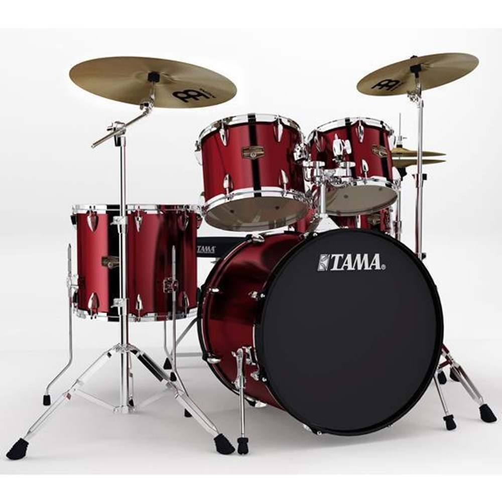 Tama Vintage Red Tama IP52KCVTR Imperialstar 5-Piece Complete Drum Kit with 22 Bass Drum and Hardware, Cymbals
