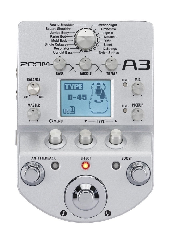 Zoom Zoom A3 Pre-Amp and Effects Pedal for Acoustic Guitar- Discontinued