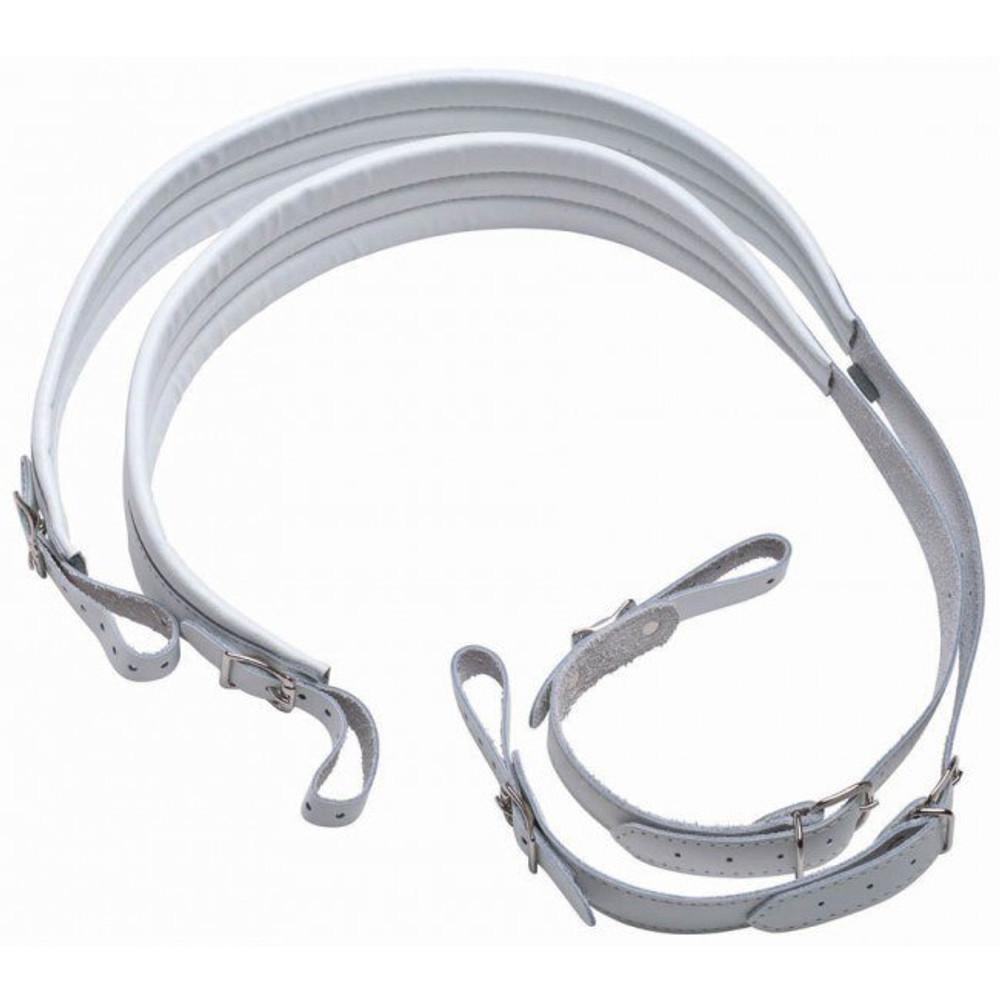 Belmonte Belmonte 3336 Genuine Leather Padded Accordion Straps Pair - White