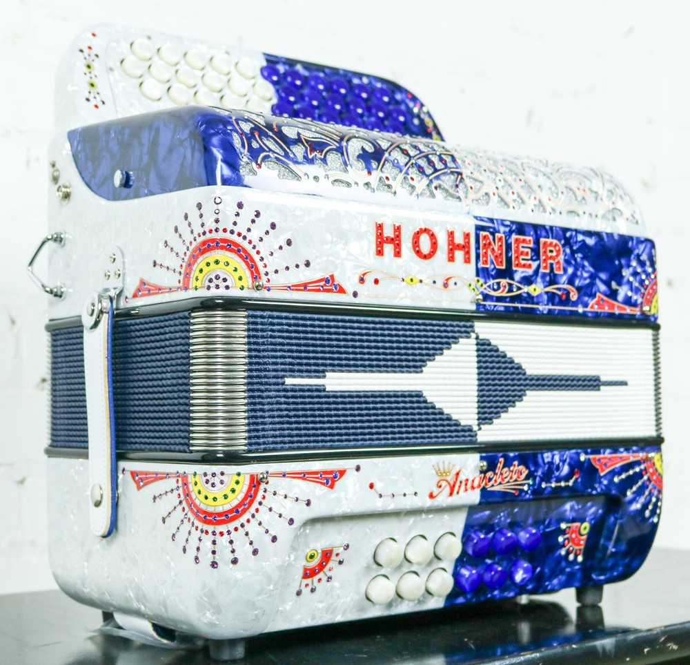 Hohner Hohner Anacleto Rey Del Norte TT G/E Accordion Compact Blue and White