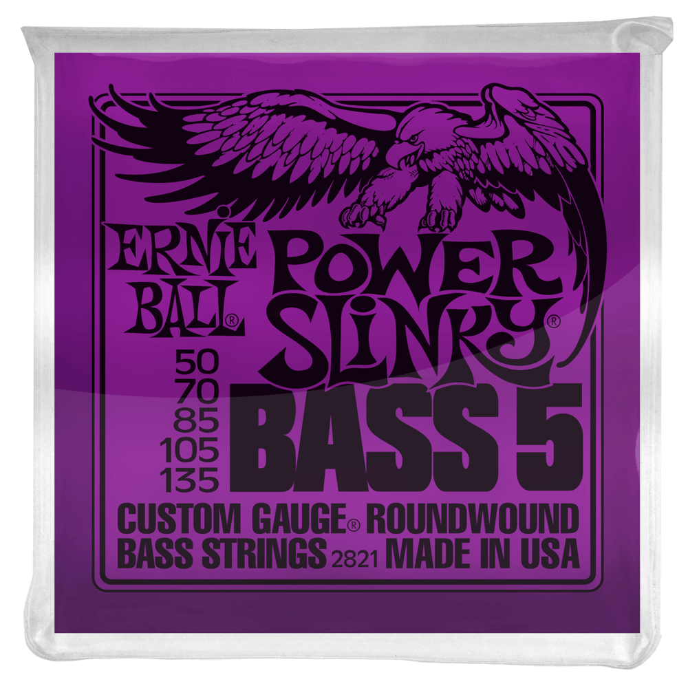 Ernie Ball Ernie Ball Power Slinky 5-String Nickel Wound Electric Bass Strings - 50-135 Gauge