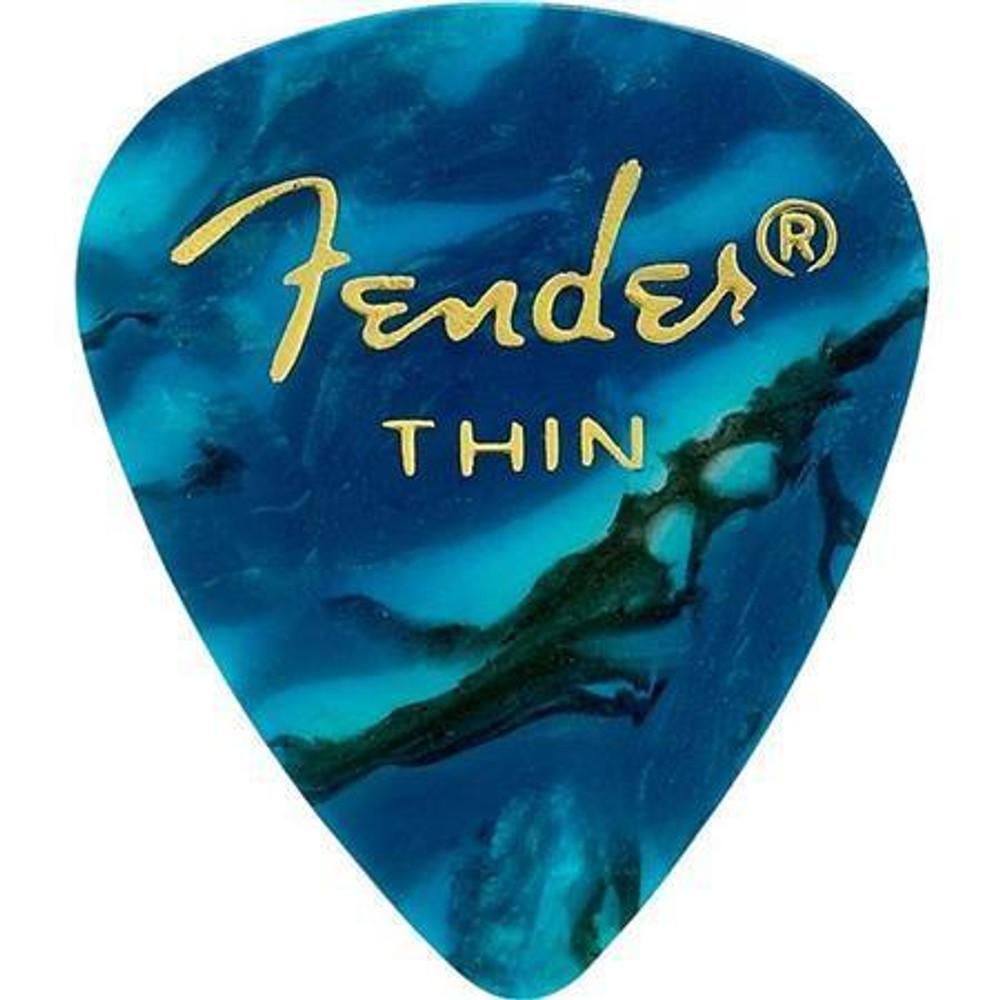 Fender Fender 351 Shape Premium Celluloid Guitar Picks Thin 12 Pack Ocean Turquoise