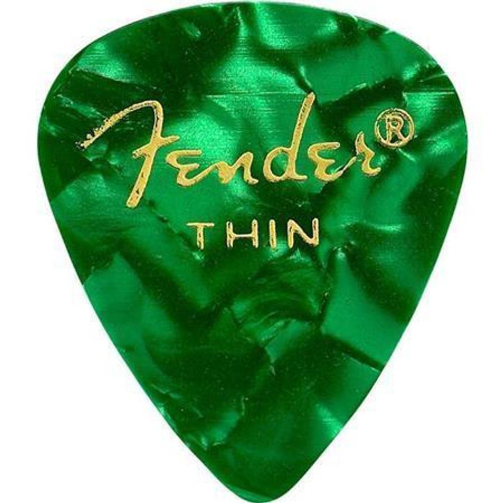 Fender Fender 351 Shape Premium Celluloid Guitar Picks Thin 12 Pack Green Moto