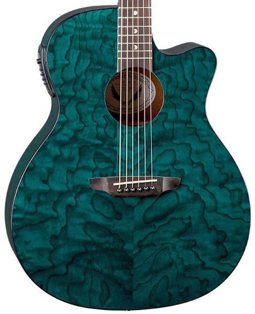 Luna Luna GYPEQATEAL Gypsy Quilt Ash Acoustic Electric in Teal