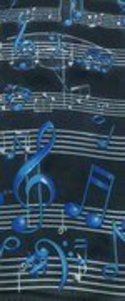 Music Treasures Black Scarf with Blue Clef and Musical Notes