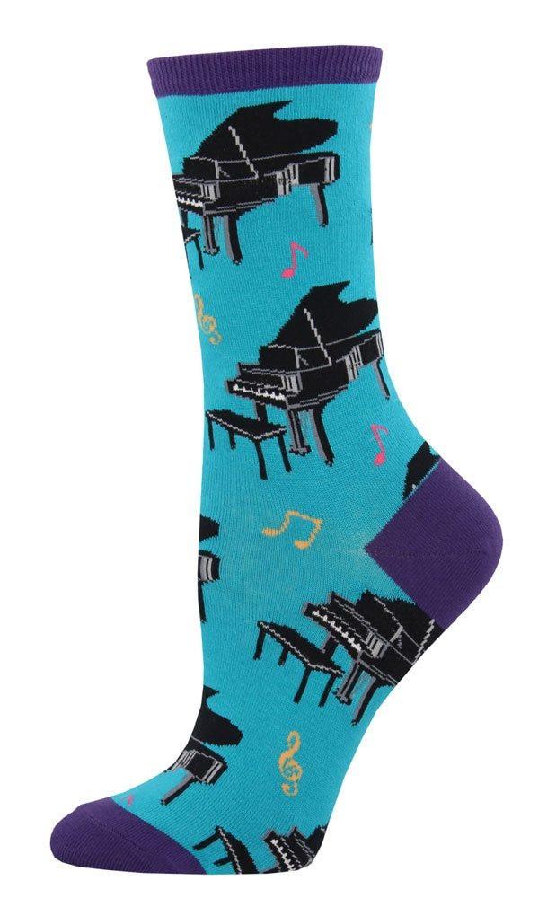 Music Treasures Teal Baby Grand Piano Women Sock