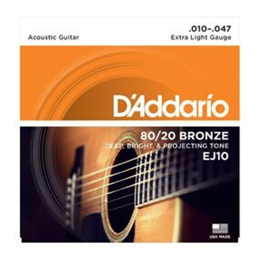 DAddario Daddario EJ10 80/20 Bronze Acoustic Guitar Strings, Extra Light, 10-47