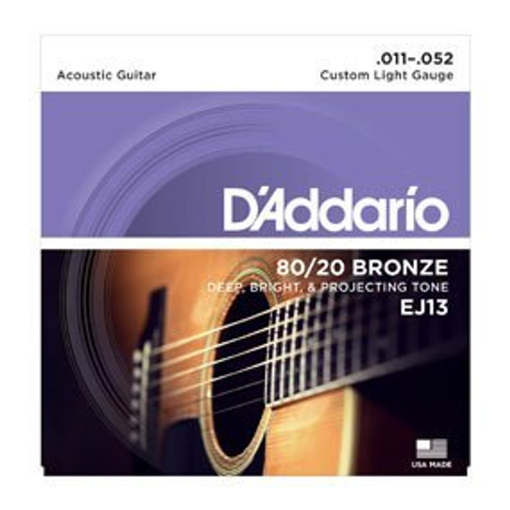 DAddario Daddario EJ13 80/20 Bronze Acoustic Guitar Strings, Custom Light, 11-52
