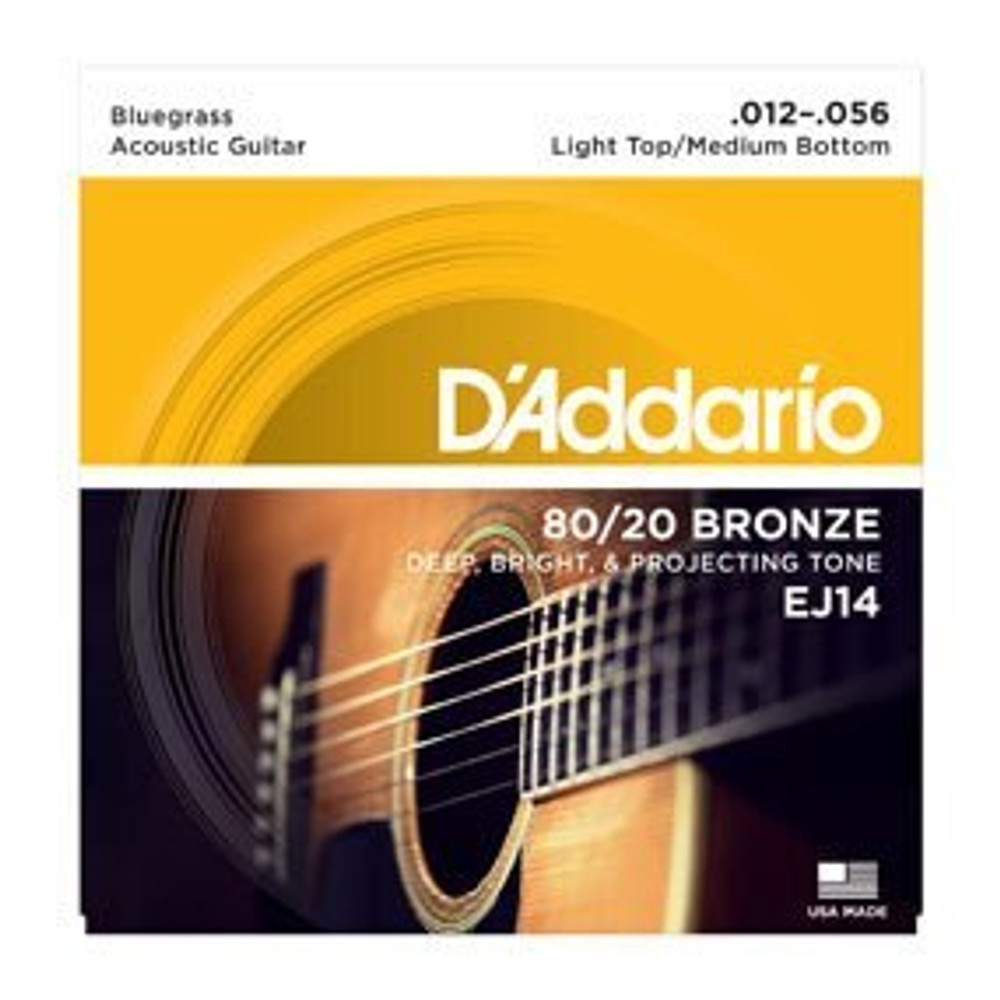 DAddario Daddario EJ14 80/20 Bronze Acoustic Guitar Strings, Light Top/Medium Bottom/Bluegrass, 12-56