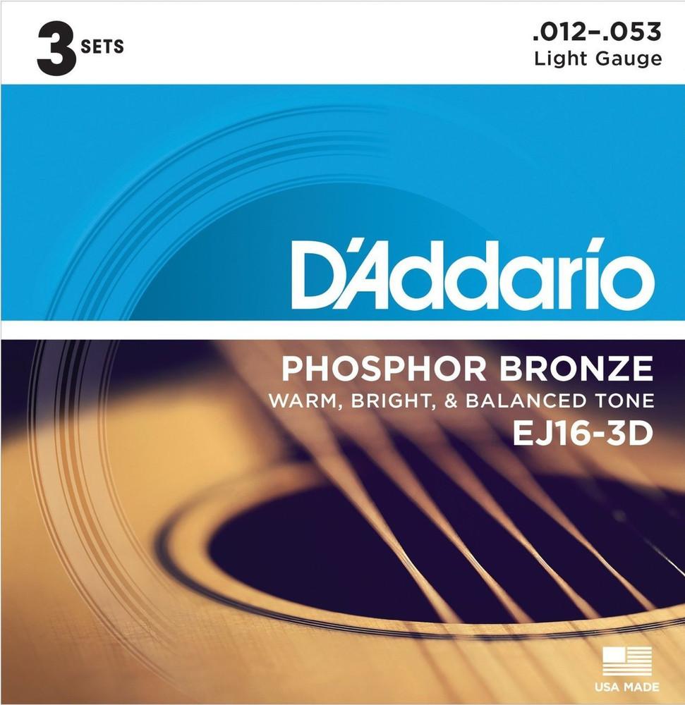 DAddario Daddario EJ16 3pk Phosphor Bronze Light 12-53