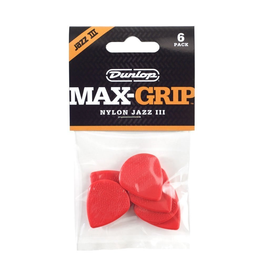 Dunlop Dunlop 471P3N Max Grip Jazz III Nylon Guitar Picks, Red, 6-Pack