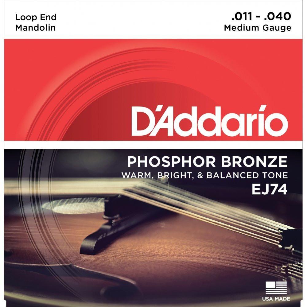 DAddario Daddario EJ74 Mandolin Strings, Phosphor Bronze, Medium, 11-40