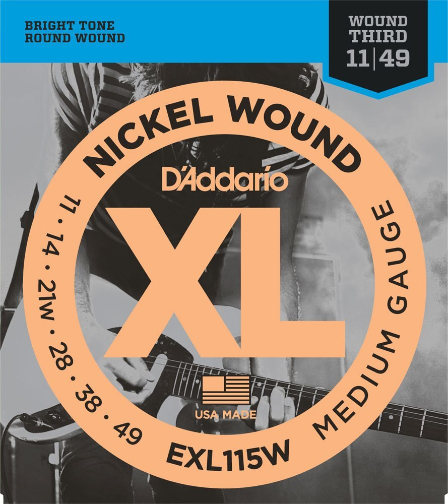 DAddario DAddario EXL115W Nickel Wound, Medium/Blues-Jazz Rock, Wound 3rd, 11-49 Electric Strings