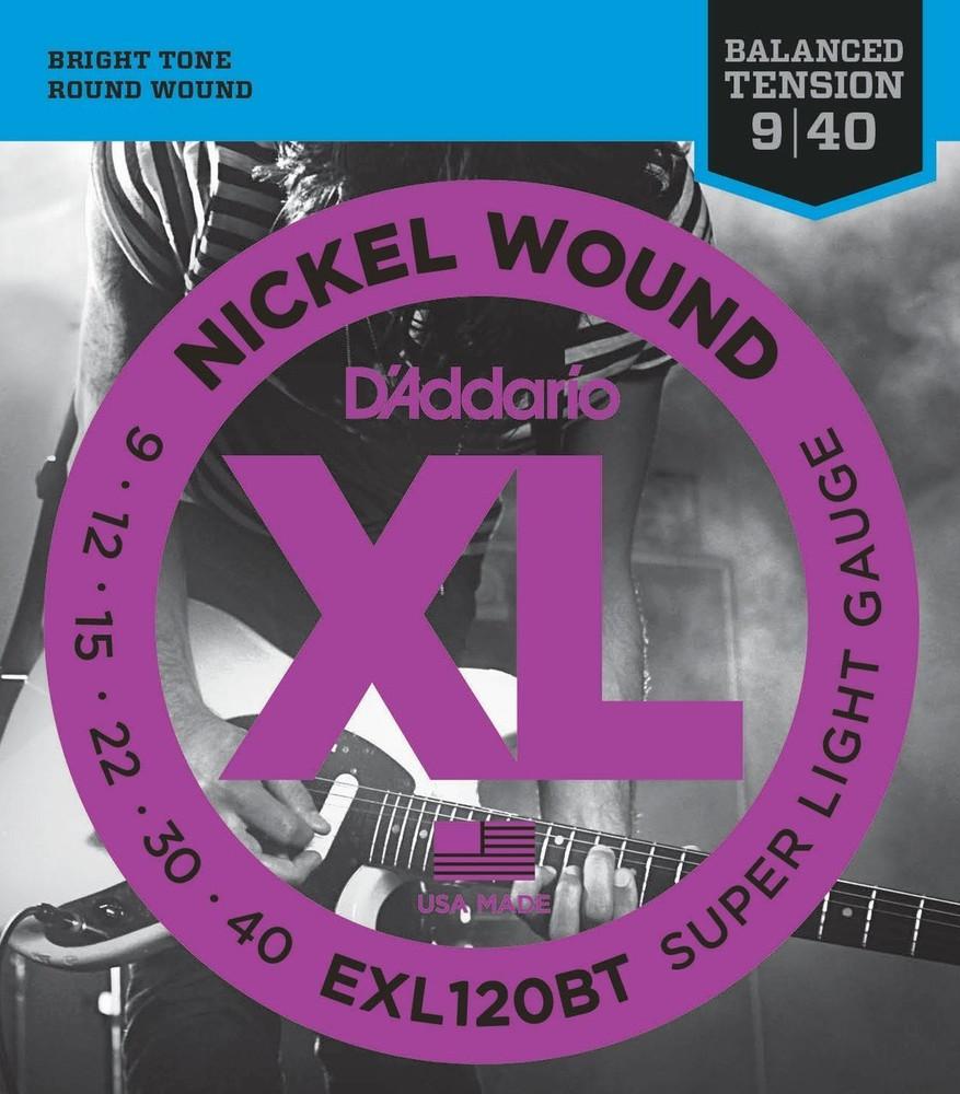 DAddario Daddario EXL120BT Nickel Wound, Balanced Tension Super Light, 09-40 Electric Strings