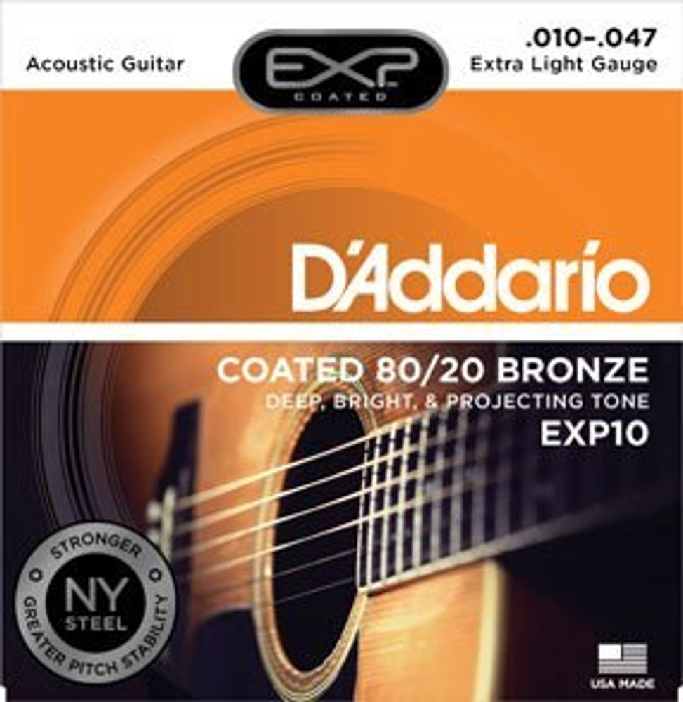 DAddario Daddario EXP10 Coated 80/20 Bronze, Extra Light, 10-47 Acoustic Strings