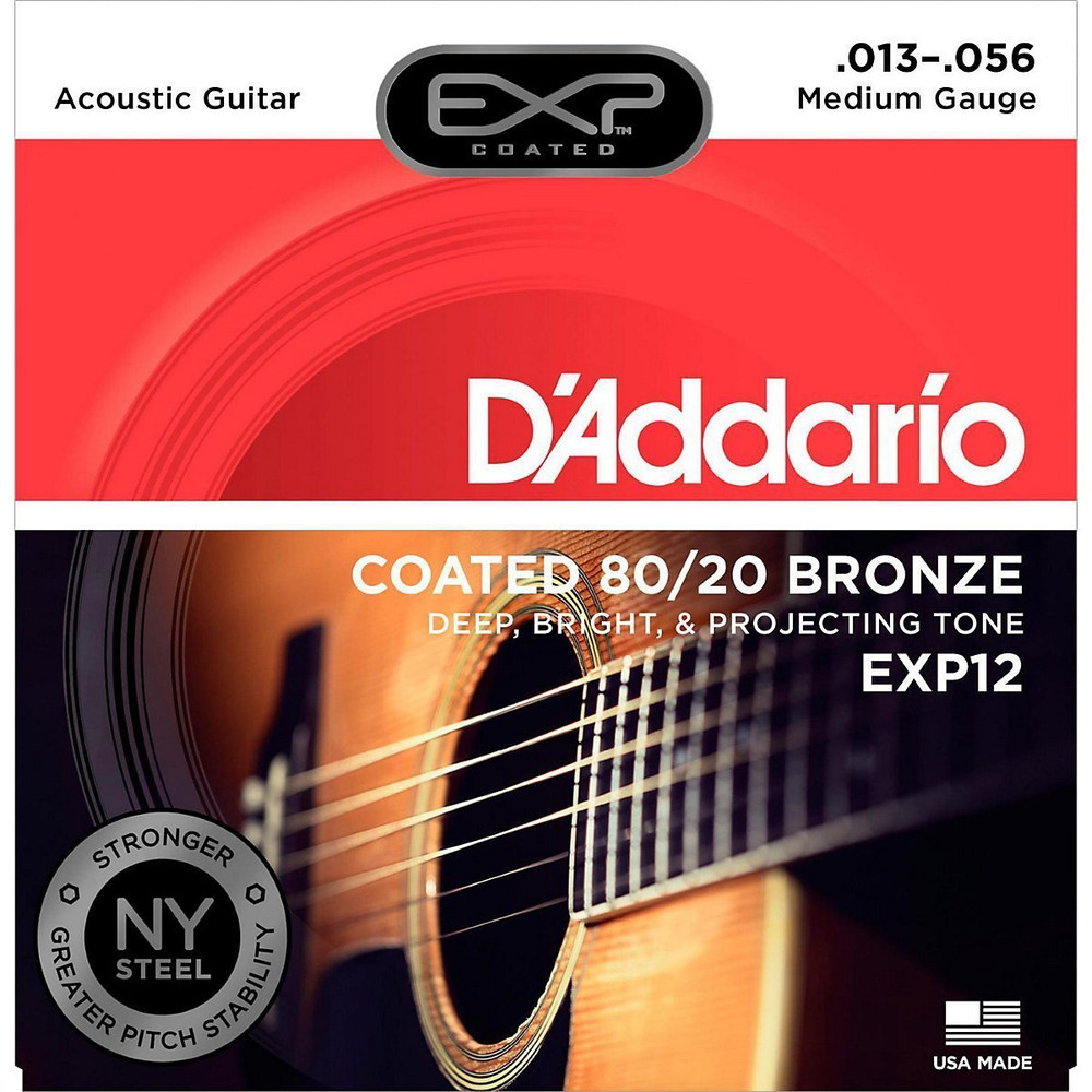 DAddario Daddario EXP12 Coated 80/20 Bronze, Medium, 13-56 Acoustic Strings