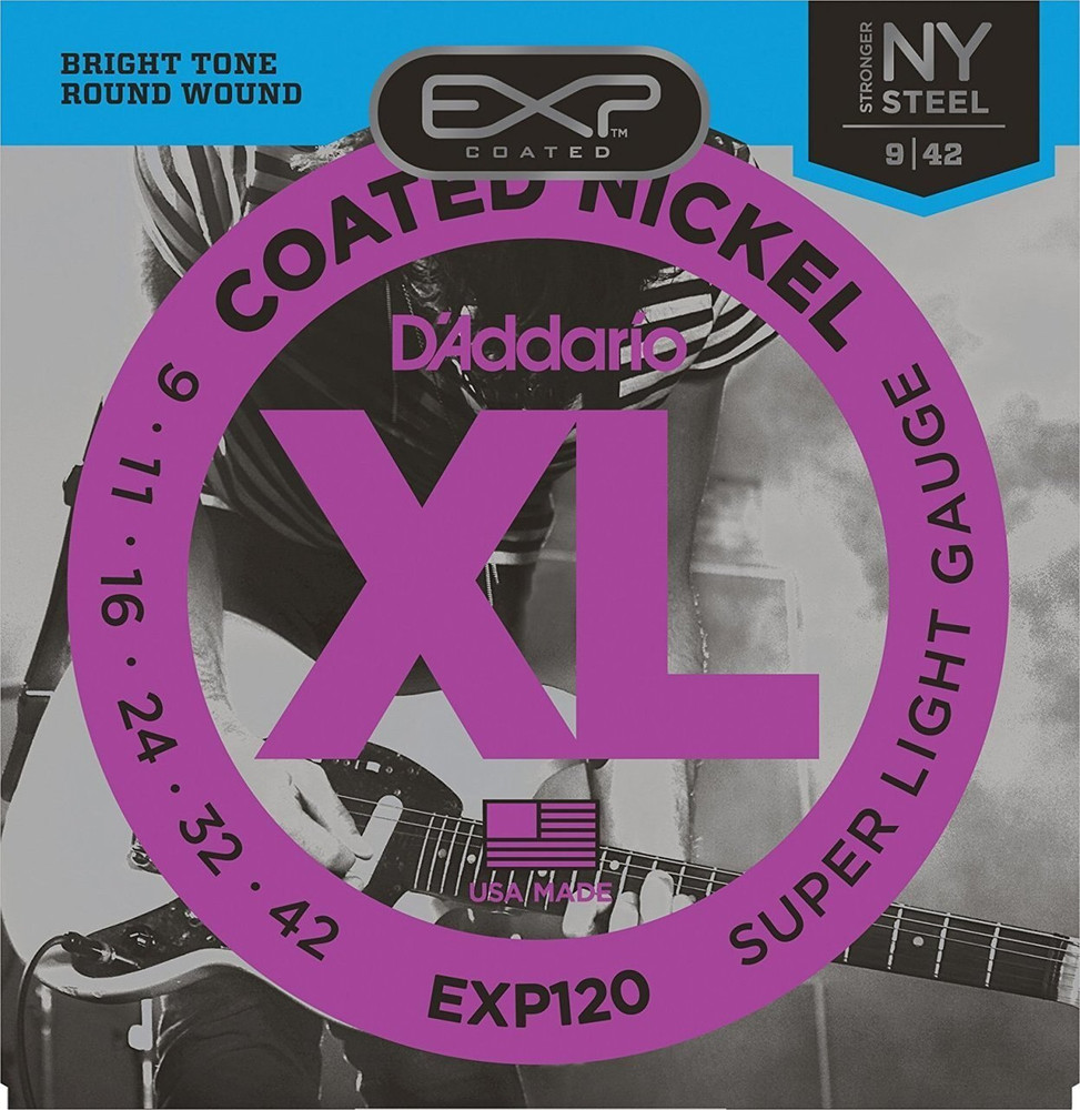 DAddario Daddario EXP120 Coated Nickel Wound, Super Light, 9-42 Electric Strings