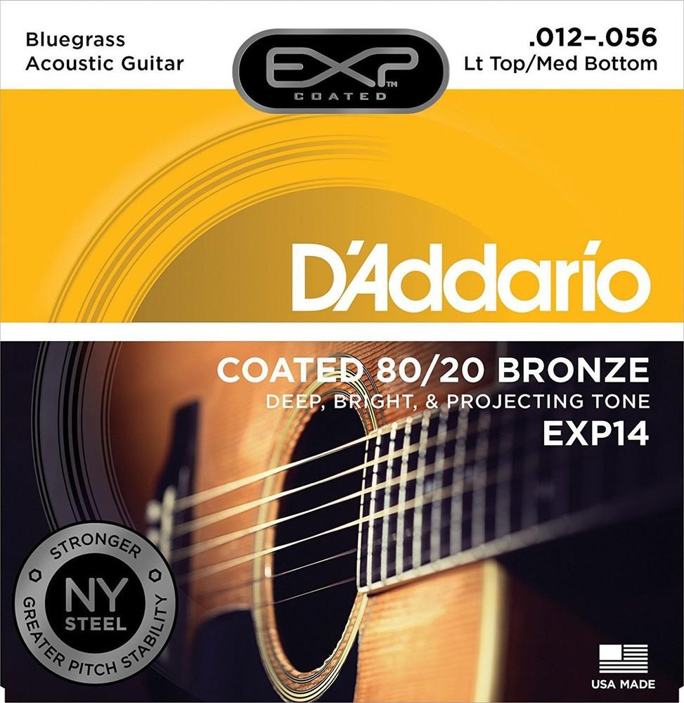 DAddario Daddario EXP14 Coated 80/20 Bronze, Light Top/Medium Bottom/Bluegrass, 12-56 Acoustic Strings