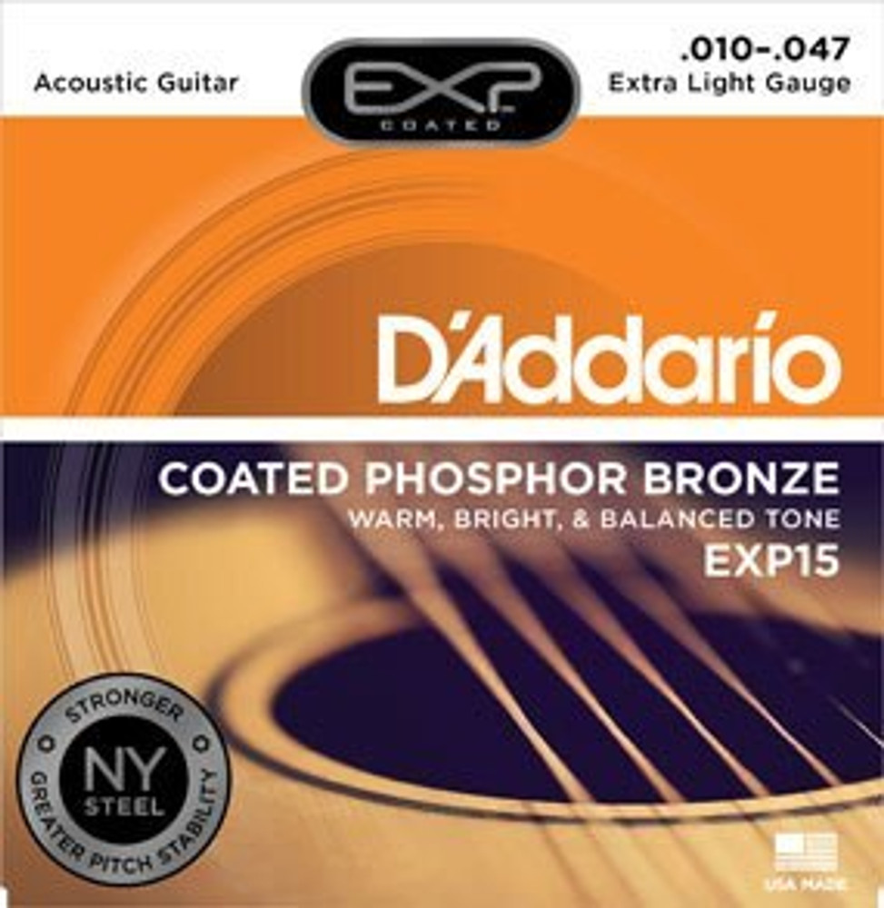 DAddario Daddario EXP15 Coated Phosphor Bronze, Extra Light, 10-47 Acoustic Strings