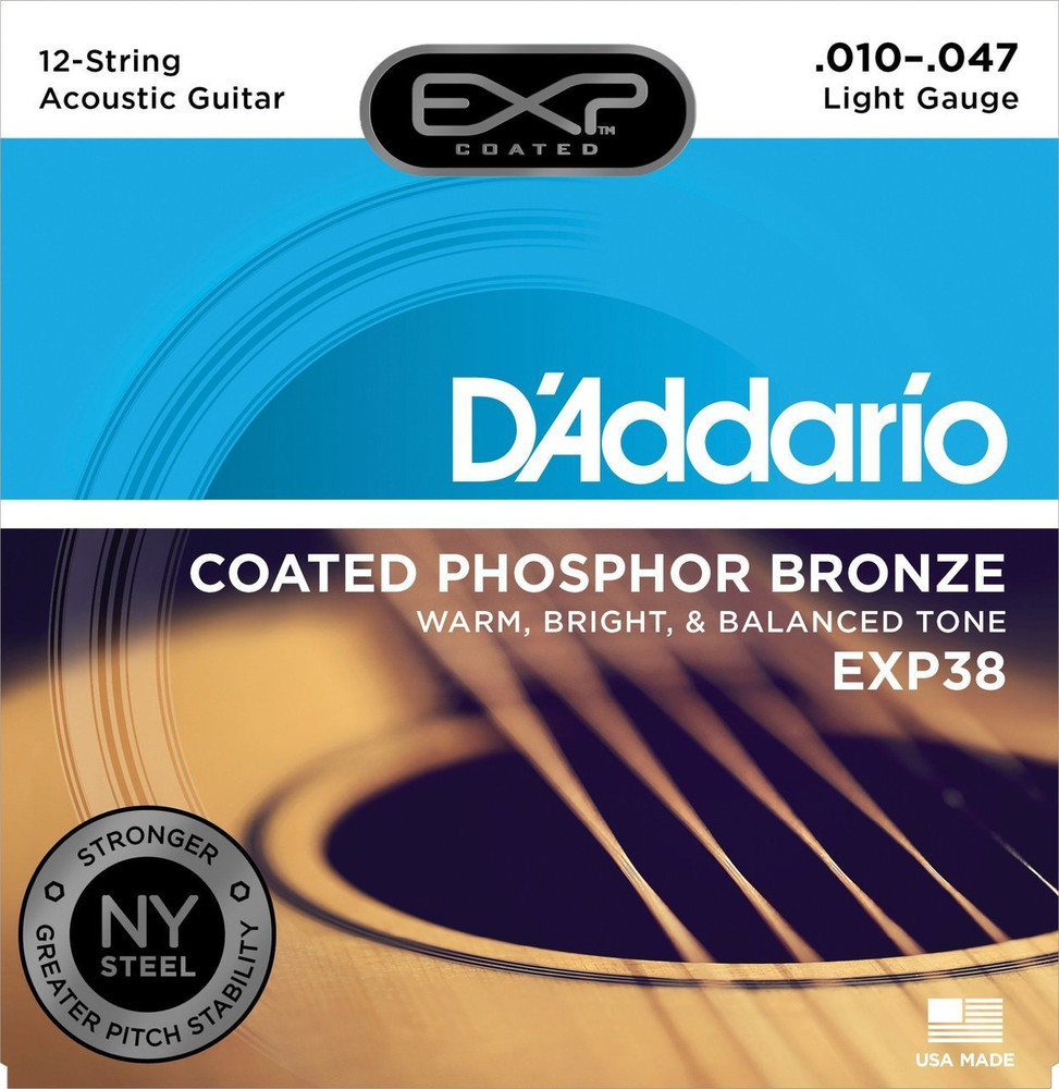 DAddario Daddario EXP38 Coated Phosphor Bronze, 12-String, Light, 10-47 Acoustic Strings