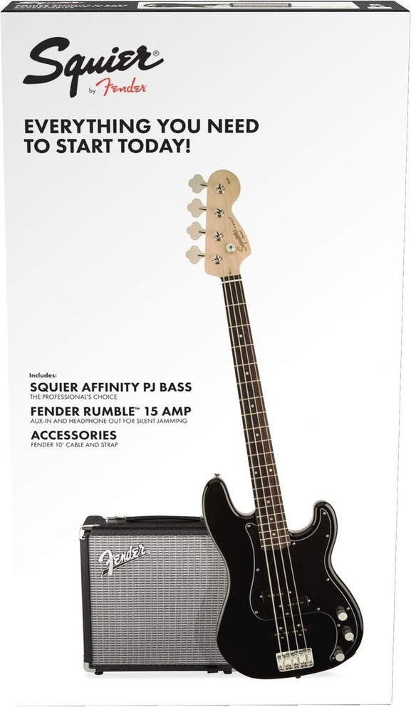 Fender Affinity Series Precision Bass PJ Pack Black w/Rumble 15 Amp