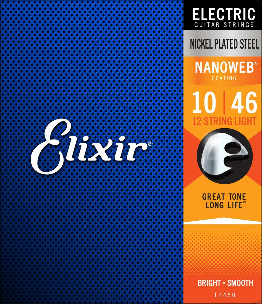 Elixir Elixir Strings 12-String Electric Guitar Strings w NANOWEB Coating, Light 10-46