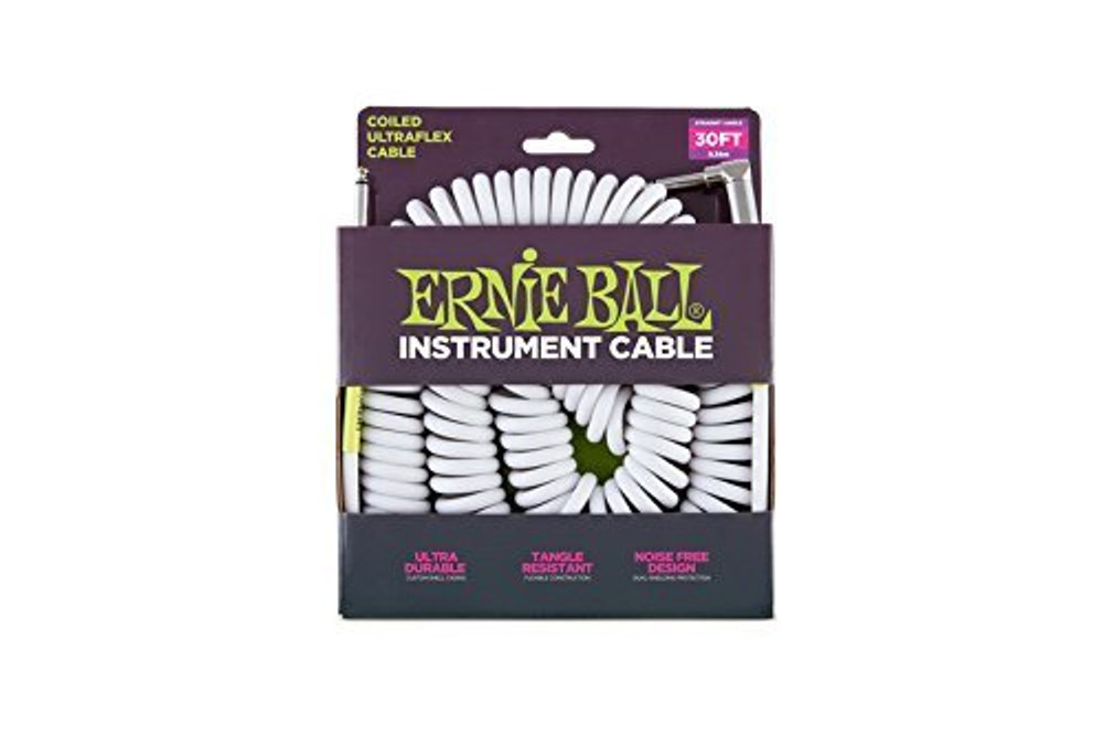 Ernie Ball Ernie Ball 30 Coiled Straight / Angle Instrument Cable - White