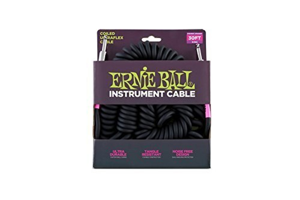 Ernie Ball Ernie Ball 30 Coiled Straight / Straight Instrument Cable - Black