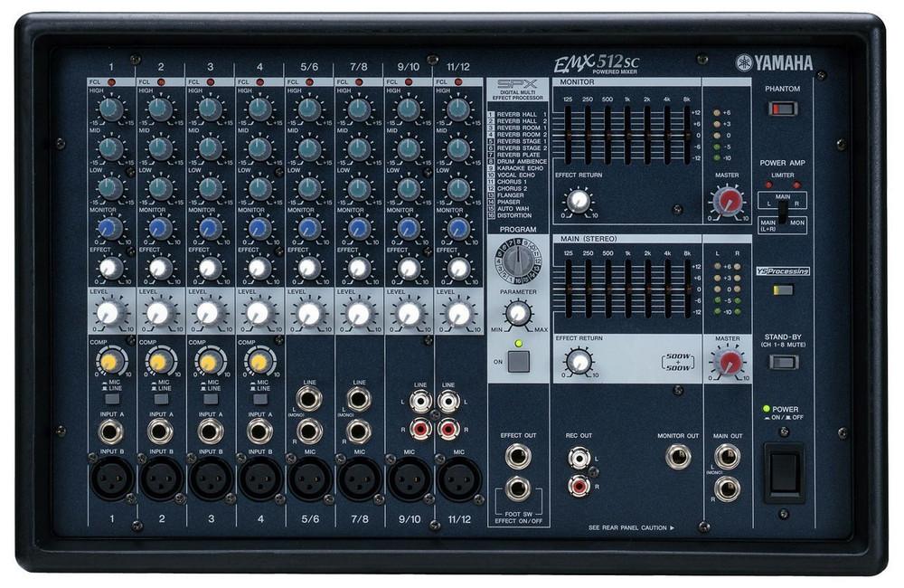 Yamaha Yamaha EMX512SC 12-Channel Stereo Powered Mixer with Dual 500 Watt Amplifier