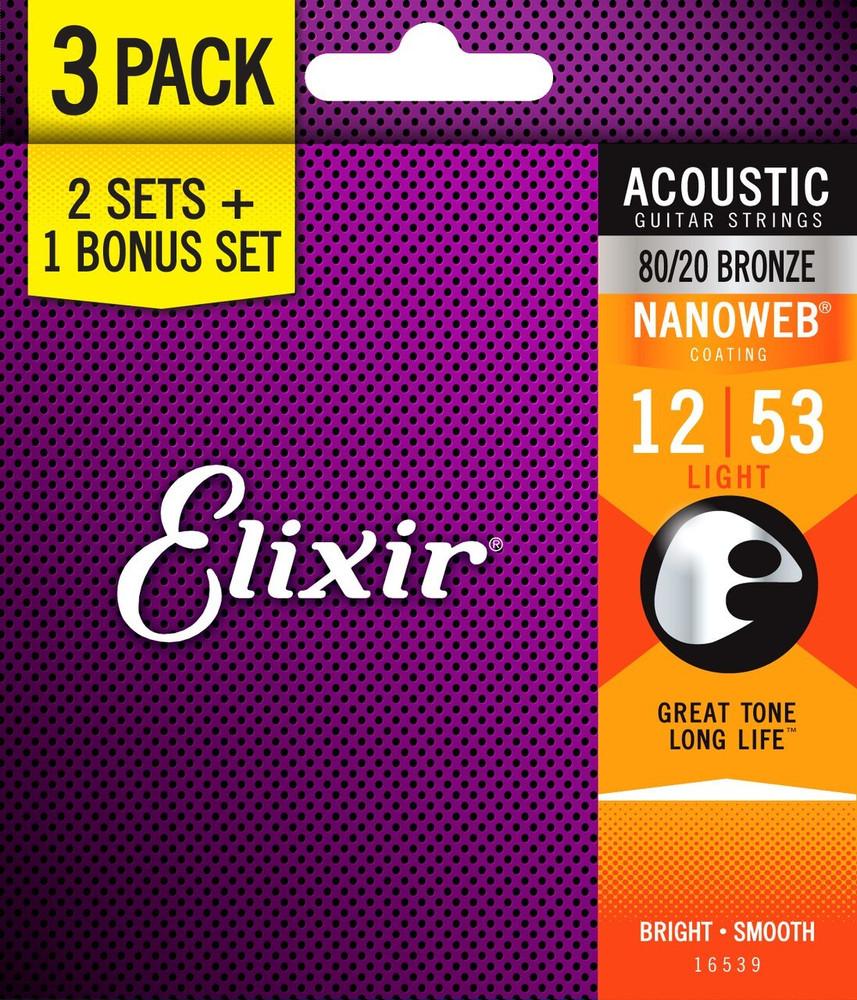Elixir Elixir 12-53 Light Nanoweb Acoustic Strings 3 pack