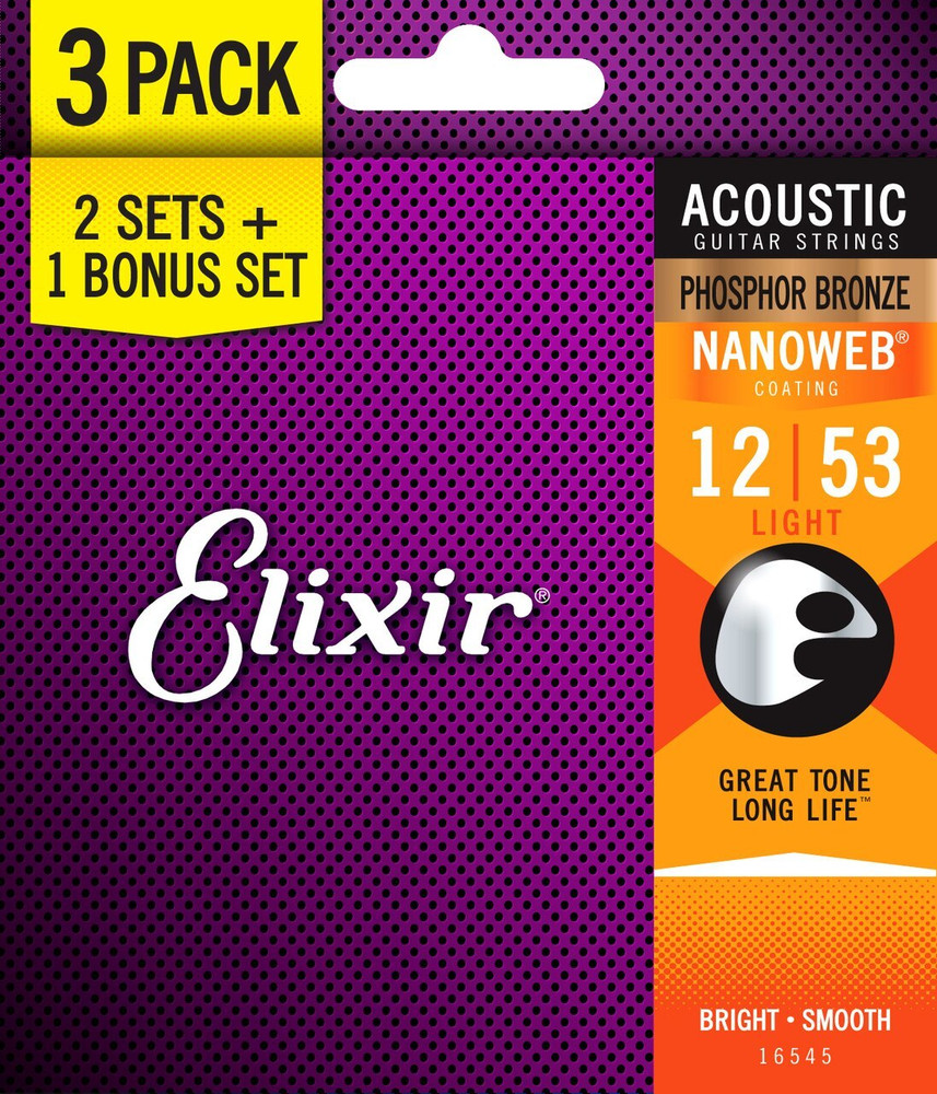 Elixir Elixir 12-53 Light PhosBronze Nanoweb Acoustic Strings 3 Pack
