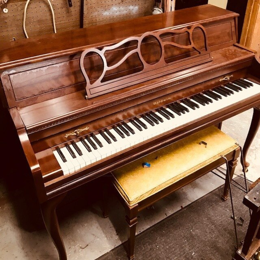 Baldwin Upright Piano with Matching Bench in Mahogany