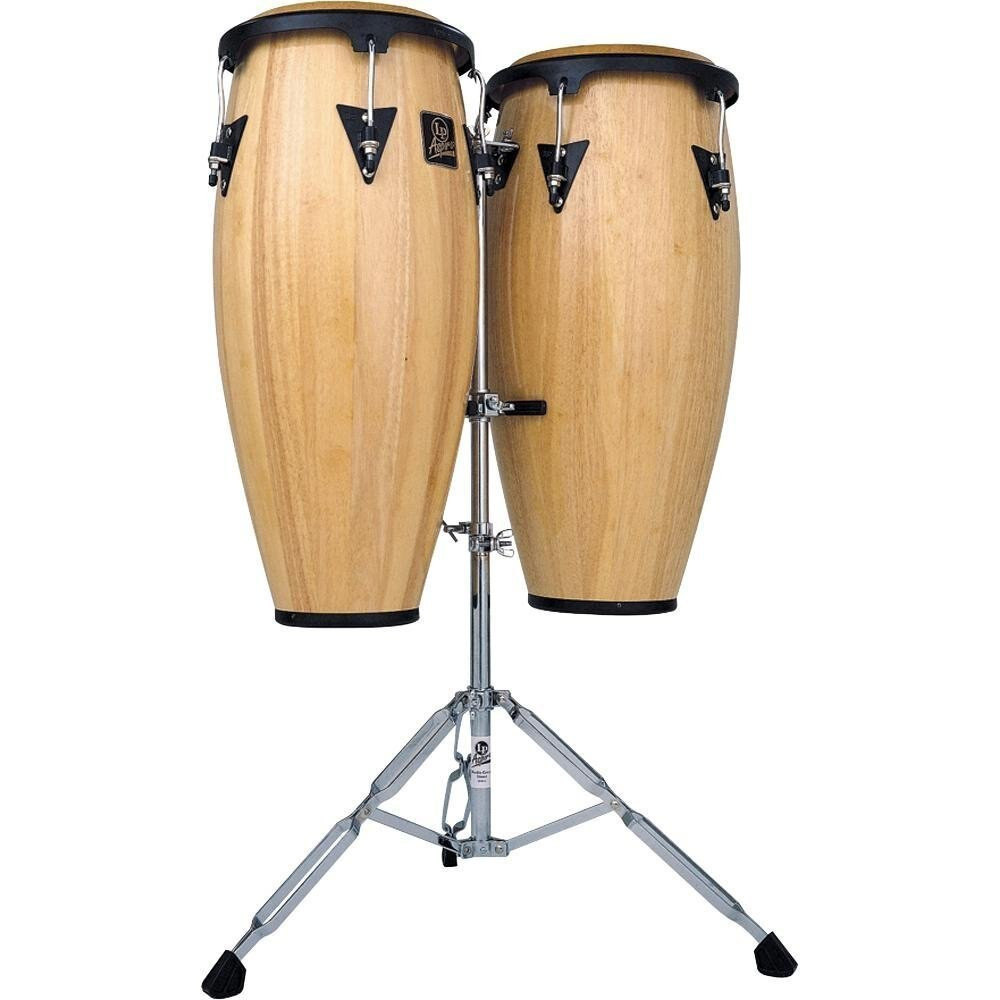 Latin Percussion LP Aspire LPA646AW 10 and 11 Conga Set with Stand Natural/Black