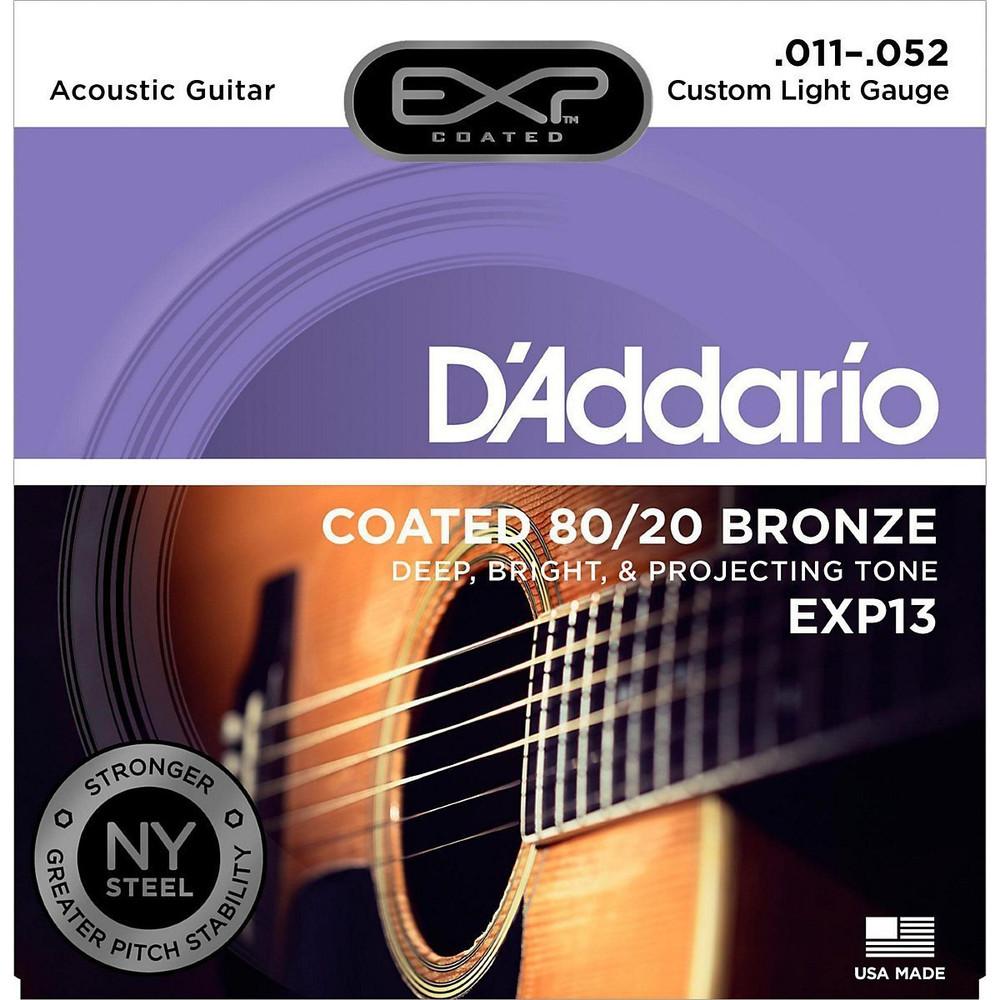 DAddario Daddario EXP13 Coated 80/20 Bronze, Custom Light, 11-52 Acoustic Strings