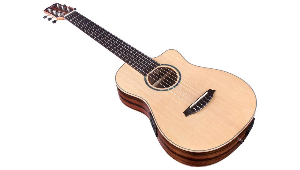 Cordoba Cordoba Mini II Acoustic/Electric Nylon Travel Guitar - Spruce Top/ Striped Ebony