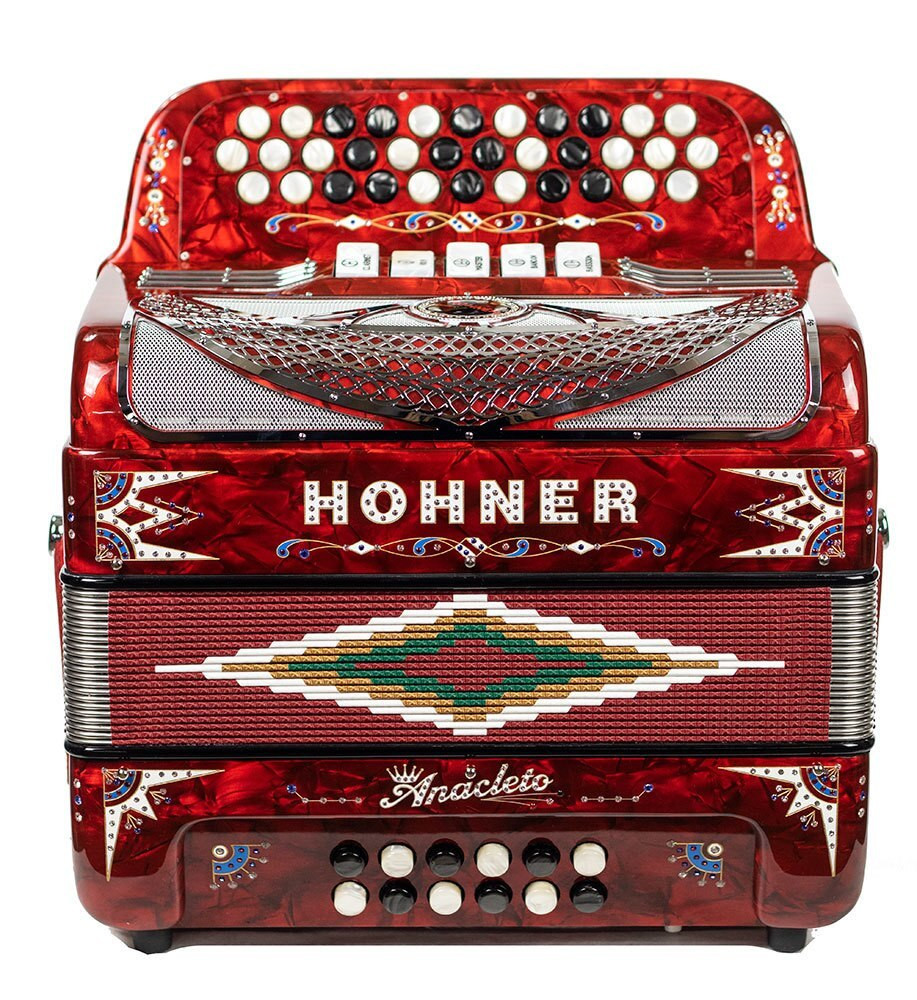 Hohner Hohner Rey Del Norte III Compact 5 switch 34 button, EAD - Pearl Red