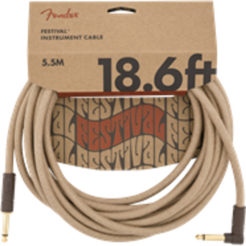 Fender 18.6 Angled Festival Instrument Cable, Pure Hemp, Natural